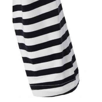 Long Sleeve Striped T-Shirt With Elbow Patch - WHITE/BLACK WHITE/BLACK