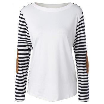 Long Sleeve Striped T-Shirt With Elbow Patch - WHITE AND BLACK WHITE/BLACK
