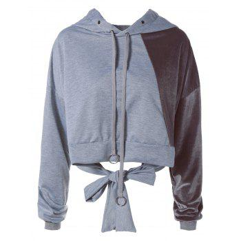 Color Block Long Sleeve Thin Wrap Hoodie