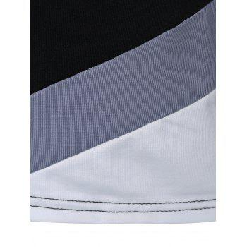 Stripe Color Block Slim Fitted Tee - BLACK XL