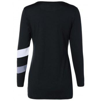 Stripe Color Block Slim Fitted Tee - BLACK BLACK