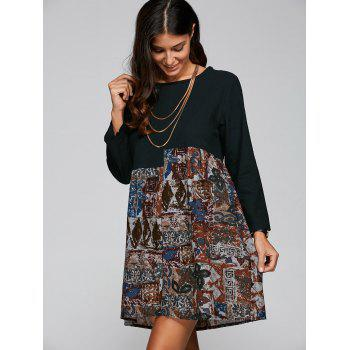 Retro Printed Trapeze  Dress
