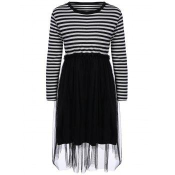 Preppy Stripe Tulle Spliced Knitted Dress