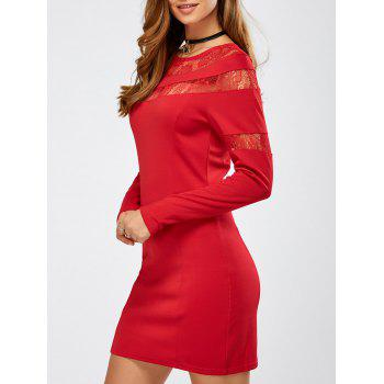 Laciness Long Sleeve Tight Mini Dress