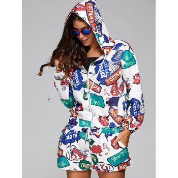 Graffiti Print Hooded Jacket and  Loose Shorts Twinset