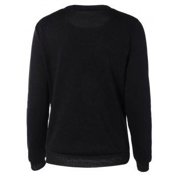 Loose-Fitting Letter Print Sweatshirt - BLACK S