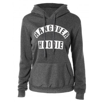 Buy Flocking Pocket Design Letter Print Hoodie DEEP GRAY