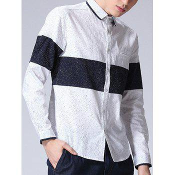 Color Splicing Dot Printed Long Sleeve Shirt - WHITE WHITE