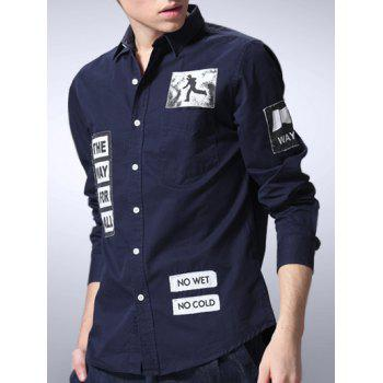Slimming Letters Applique Long Sleeve Shirt - SAPPHIRE BLUE XL
