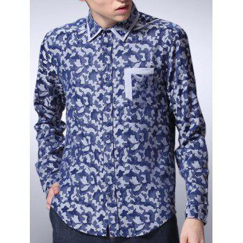 Camouflage Printed Button Down Long Sleeve Shirt - BLUE BLUE