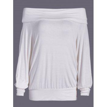 Off-The-Shoulder Batwing Sleeve Overlay Blouse