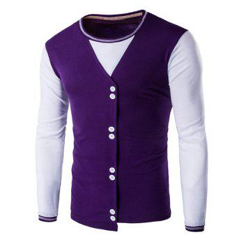 Round Neck Button Embellished Two Tone T-Shirt