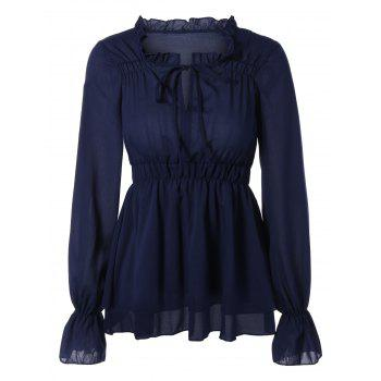 Puff Sleeves Tied-Up Ruffled Blouse - DEEP BLUE S