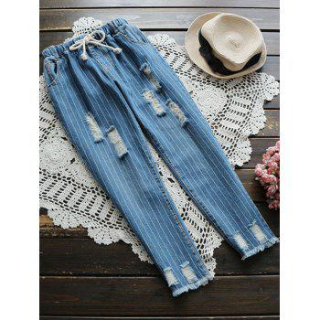 Drawstring Ripped Striped Jeans