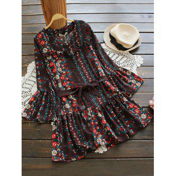 V Neck Bell Sleeve Tiny Floral Belted Dress