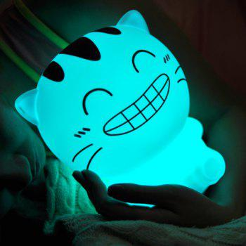 Cartoon Happy Cat USB Rechargeable Colorful Remote Control Night Light - WHITE WHITE