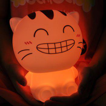 Cartoon Happy Cat USB Rechargeable Colorful Remote Control Night Light -  WHITE