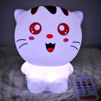Cartoon Lovely Cat USB Rechargeable Colorful Remote Control Night Light -  WHITE