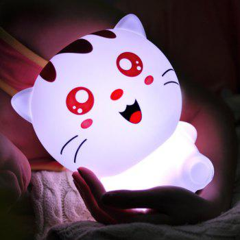 Cartoon Lovely Cat USB Rechargeable Colorful Remote Control Night Light - WHITE WHITE