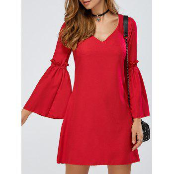 V-Neck Bell Sleeve Ruffle A Line Dress