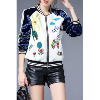 Embroidered Zip Up Baseball Jacket - WHITE S