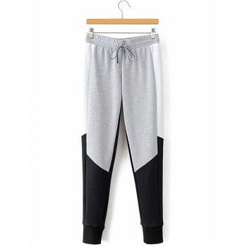 Drawstring Color Block Narrow Feet Pants