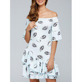 Layered Flounce Off The Shoulder Eyes Print Dress