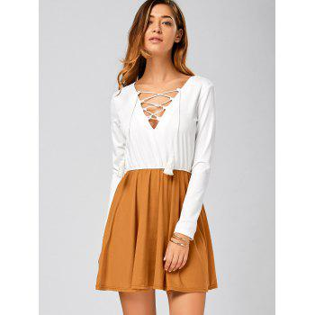 Long Sleeve Lace Up Short Skater Dress