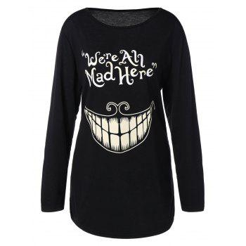 Plus Size Teeth and Letter Print T-shirt - BLACK BLACK