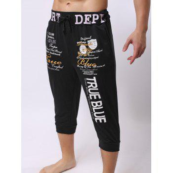 Lace-Up Color Block Spliced Letters Print Beam Feet Men's Jogger Shorts - BLACK M