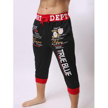 Lace-Up Color Block Spliced Letters Print Beam Feet Men's Jogger Shorts - RED/BLACK L