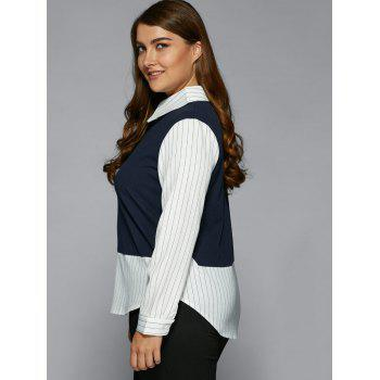 Plus Size Stripe Color Block Faux Twinset Shirt - PURPLISH BLUE XL