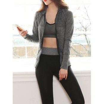 Fitting Crop Top and Skinny Running Pants and Zip-Up Jacket - GRAY S