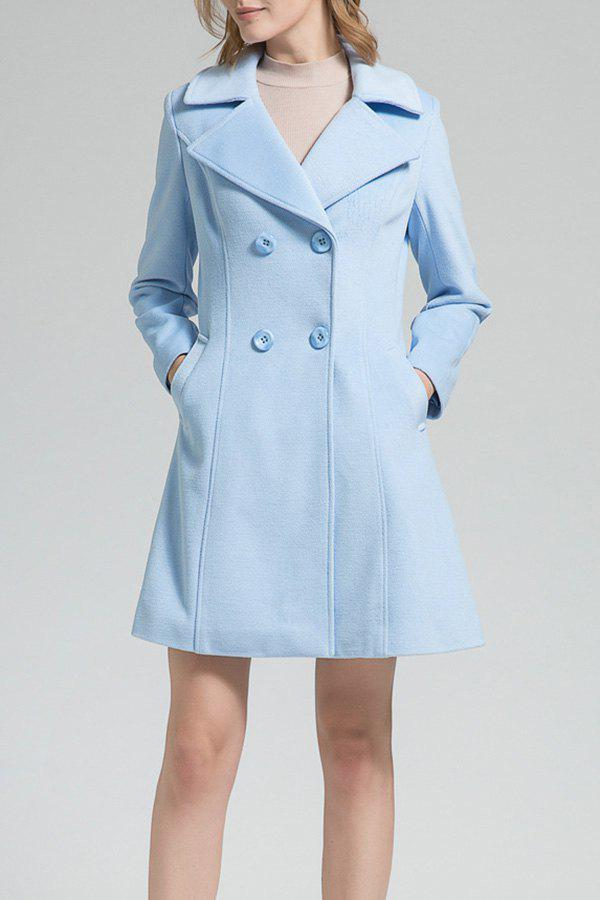 A Line Coat In Wool Blend, Light blue