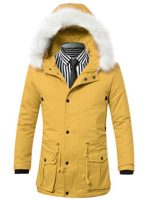 Buy Faux Fur Collar Hooded Zip-Up Drawstring Pockets Padded Coat YELLOW