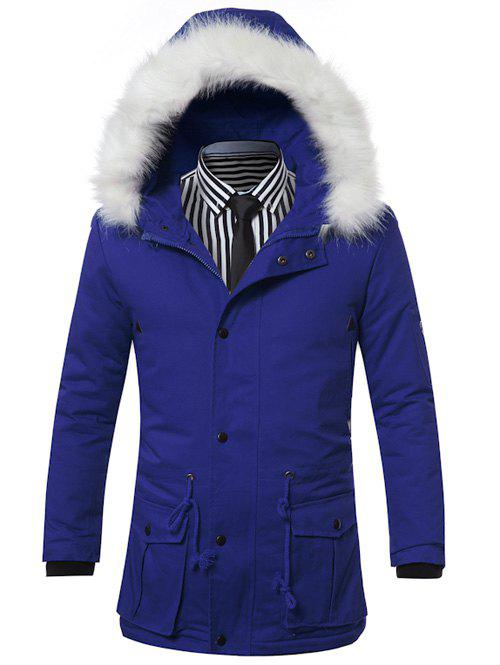 Buy Faux Fur Collar Hooded Zip-Up Drawstring Pockets Padded Coat BLUE