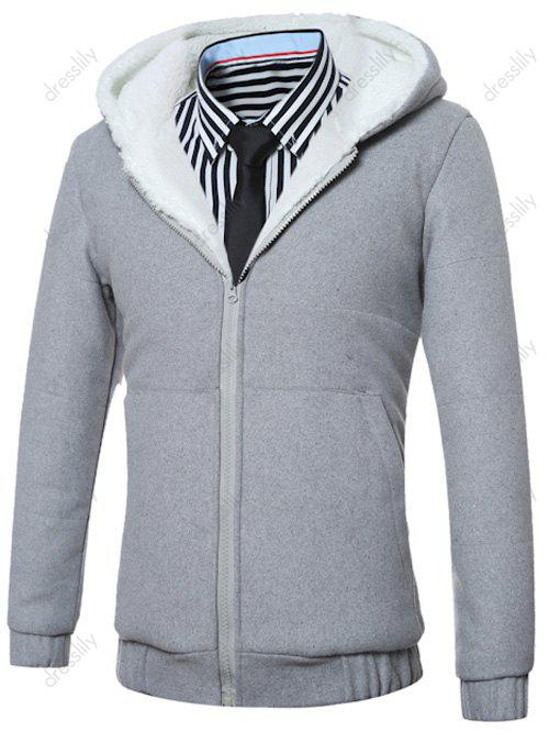 Fleece Hooded Zip-Up Hoodie - GRAY XL