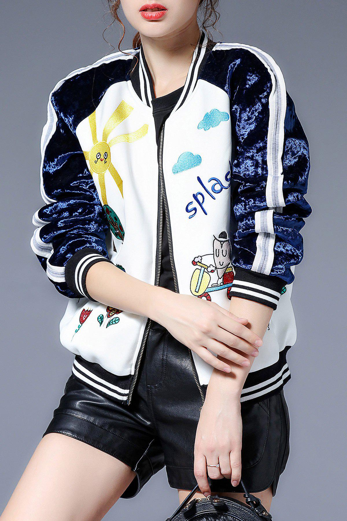 Embroidered Zip Up Baseball Jacket sequin embroidered zip up jacket page 1