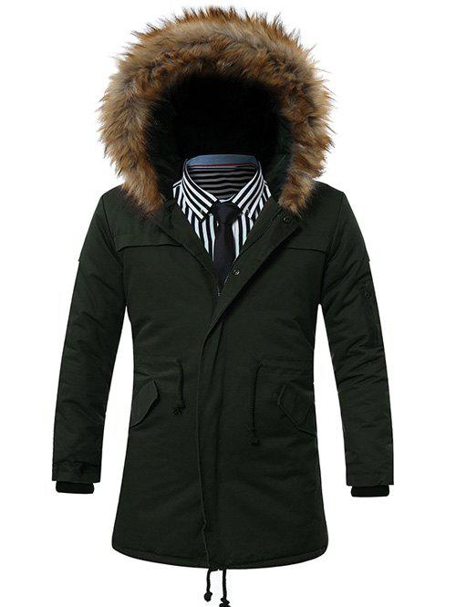 Buy Faux Fur Collar Hooded Zip-Up Drawstring Pockets Parka Coat ARMY GREEN