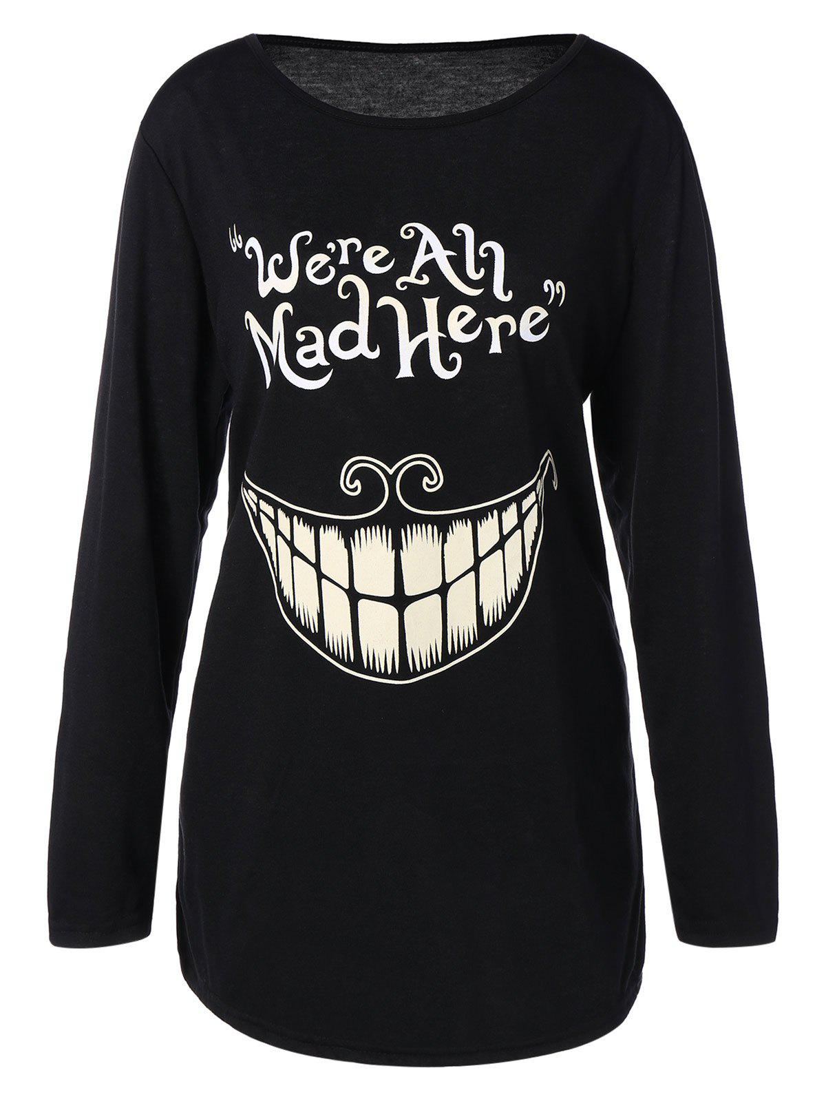 Plus Size Teeth and Letter Print T-Shirt - BLACK 2XL