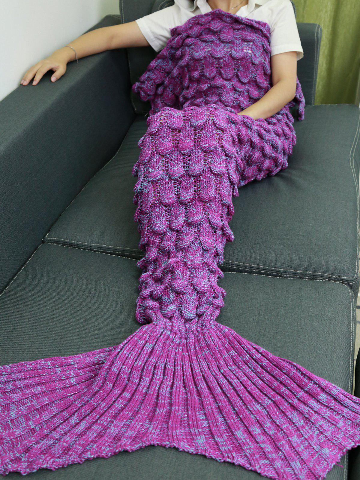 Soft Knitting Fish Scales Design Mermaid Tail Style Blanket - LIGHT PURPLE