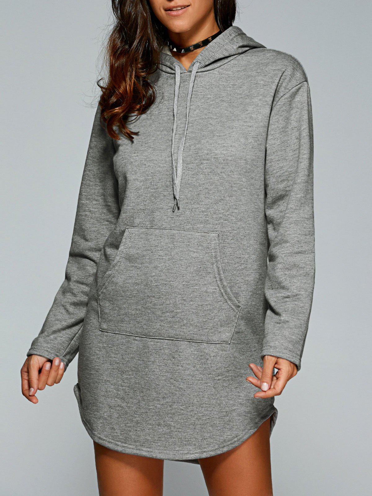 Drawstring Kangaroo Pocket Hoodie Dress тв приставка bbk smp123hdt2 dark grey