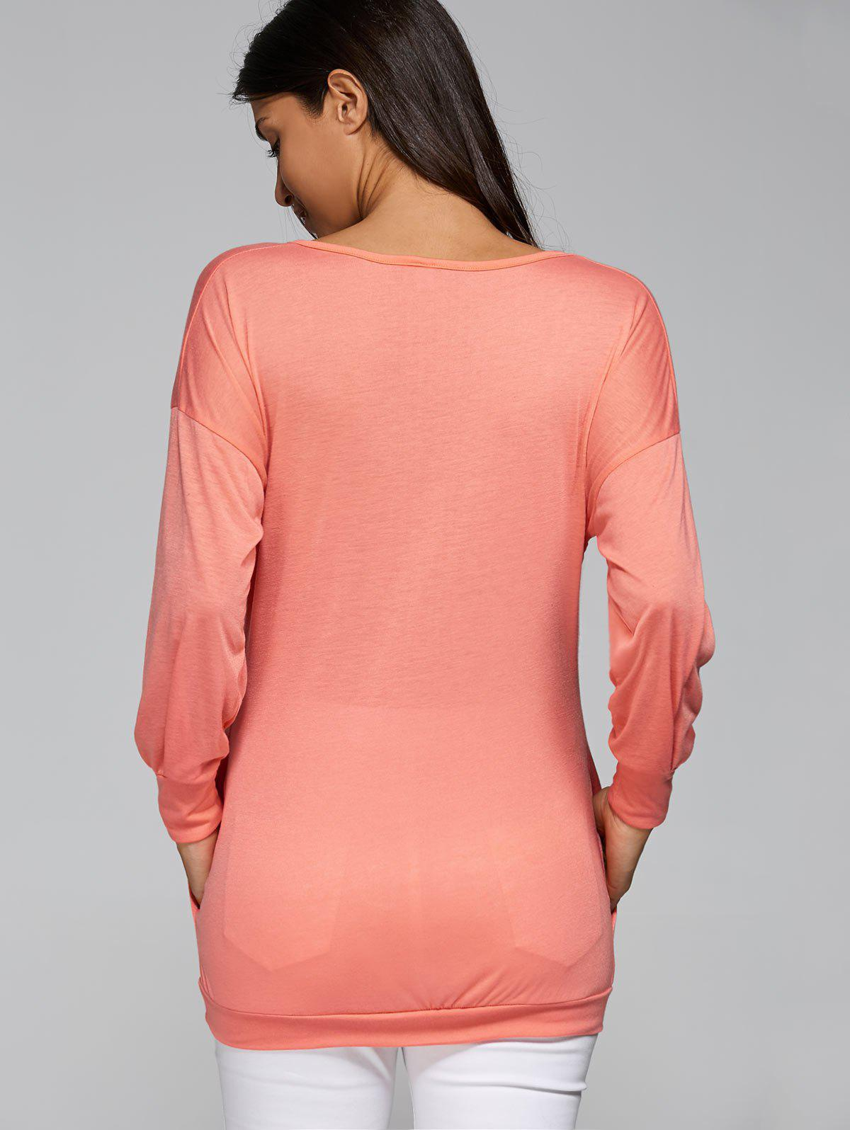 Manches col V long T-shirt - ROSE PÂLE M