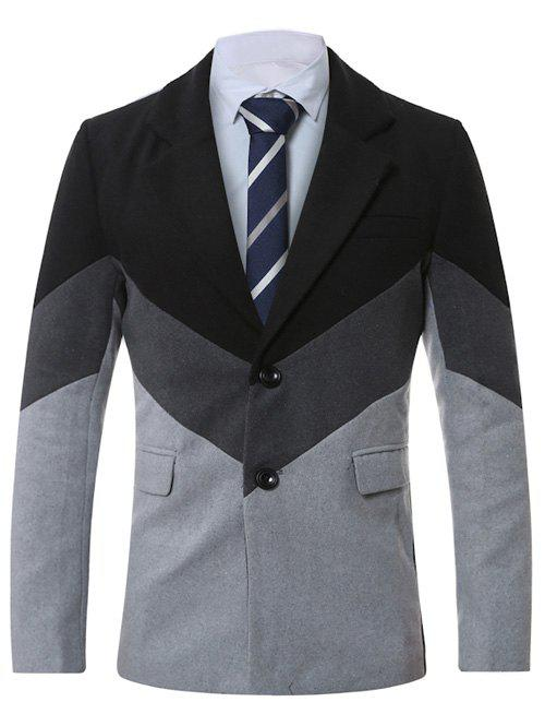Manteau en laine épissée à revers à col simple - Gris Clair XL