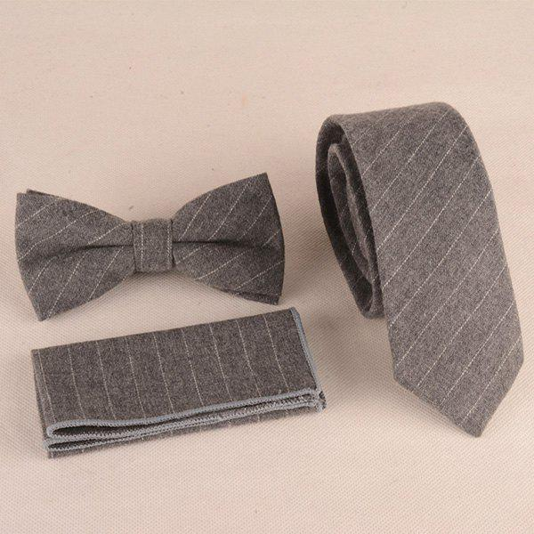Formal Skinny Stripe Pattern Tie Pocket Square and Bow TieAccessories<br><br><br>Color: GRAY