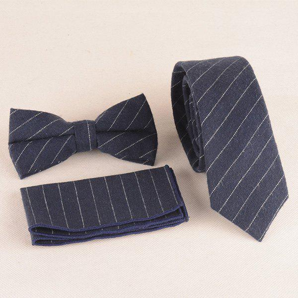 Formal Skinny Stripe Pattern Tie Pocket Square and Bow Tie - DEEP BLUE