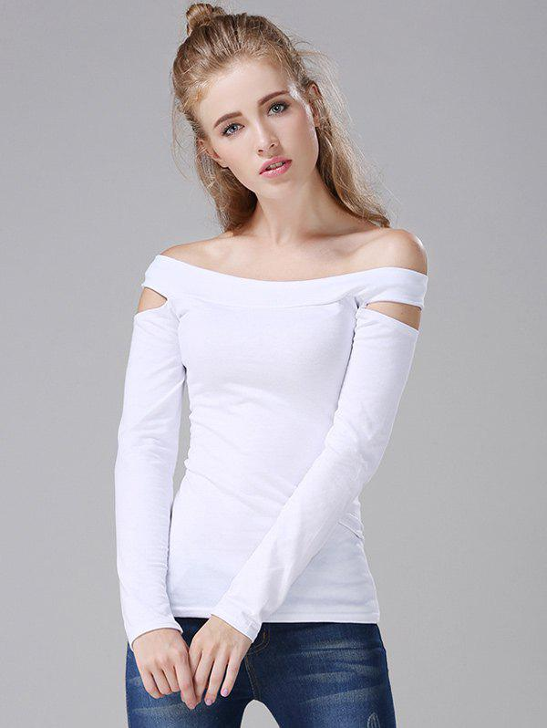 Off The Shoulder Cut Out T-Shirt - WHITE ONE SIZE
