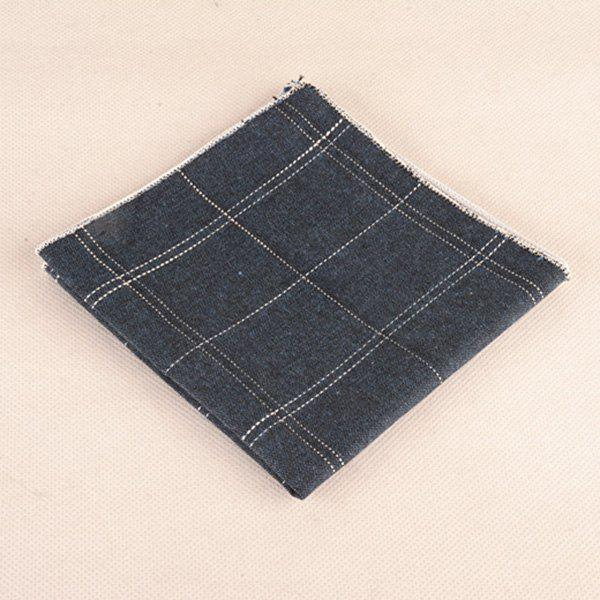 Formal Gingham Pattern Tie Pocket Square and Bow Tie - BLUE GRAY