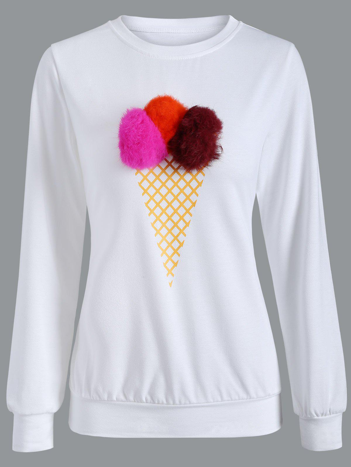 Buy Crew Neck Pompom Sweatshirt RED/WHITE