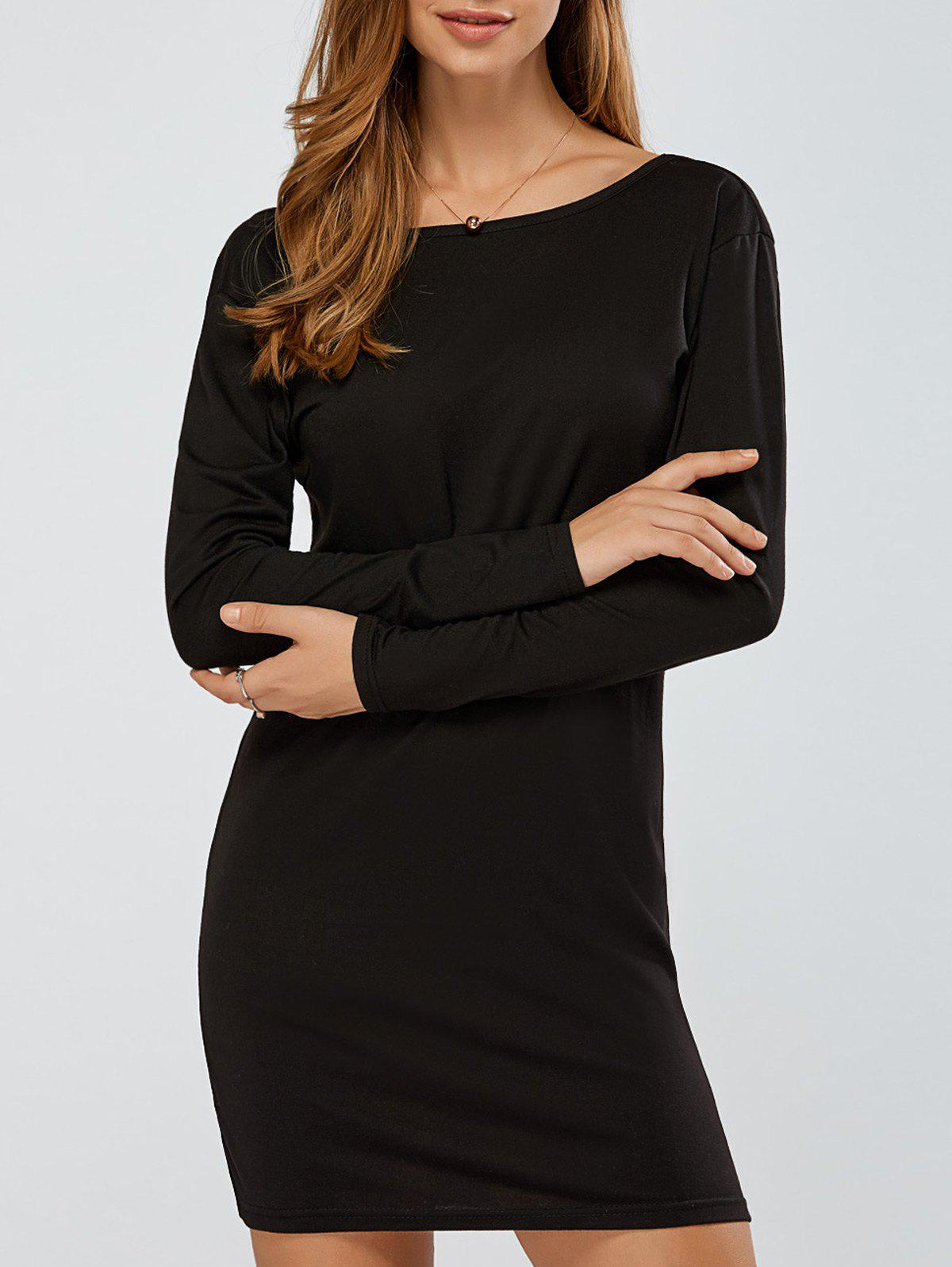Long Sleeves Backless Knitted Dress